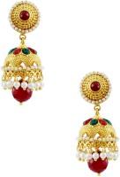 Orniza Rajwadi Earrings In Ruby & Emerald Color With Golden Polish Brass Drop Earring