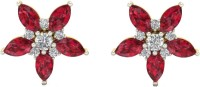 Aurobliss.com Scarlet Flower 18 K Cubic Zirconia Yellow Gold Stud Earring