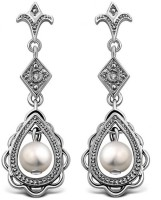Kataria Jewellers Designer White Gold Plated Diamond Silver Drop Earring