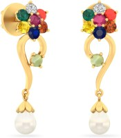 WearYourShine By PCJ The Christella 18 K Diamond, Ruby, Emerald, Sapphire, Coral, Garnet, Cat's Eye Gold Drop Earring