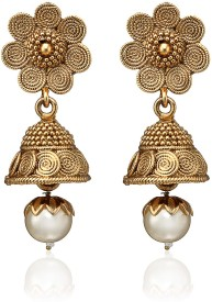 Arum Golden Alloy Jhumki Earring