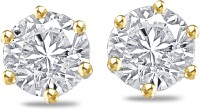 Sparkles Real Diamonds Beautiful 18K Yellow Gold Plated 18 K Diamond Gold Stud Earring