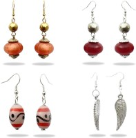Beadworks Fashionable Beaded Combo Alloy, Glass, Resin, Wood, Bone, Brass, Ceramic, Lac Earring Set