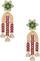 Voylla Yellow Gold Plated Cubic Zirconia Alloy Dangle Earring