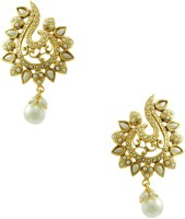 Orniza Rajwadi Earrings In Pearl Color And Golden Polish Brass Chandbali Earring