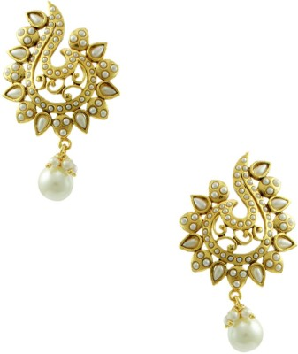 Orniza Rajwadi Earrings In Pearl Color And Golden Polish Brass Chandbali Earring