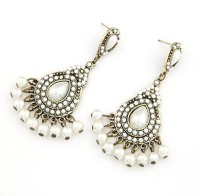 Cinderella Collection By Shining Diva Golden & White Pearl Alloy Chandelier Earring