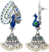 Mahi Peacock Glory Rhodium Plated Alloy Jhumki Earring