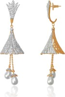American Diamond Stunning 18K Yellow Gold, Rhodium Plated Diamond, Pearl Copper, Brass Drop Earring