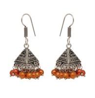 Jaipur Mart Antique Triangle Design Hanging Goldan Beads Silver Plated Alloy Jhumki Earring