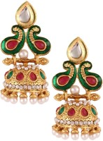 The Jewelbox Peacock Paisley Yellow Gold Plated Pearl Copper Jhumki Earring