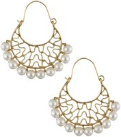 The Jewelbox Pearl Basket Yellow Gold Plated Copper Hoop Earring