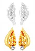 Mahi CO1104223M 24K Yellow Gold, Rhodium Plated Crystal Brass, Alloy Earring Set