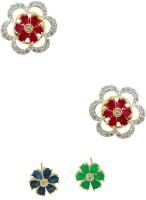Orniza CZ Diamond Earrings In Multi-Colour Color With Two Tone Polish Brass Stud Earring