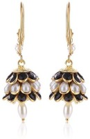 Ratnakar Black And White Three Layer Pacchi Yellow Gold Plated Copper Jhumki Earring