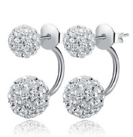 One Stop Fashion Trendy New Double Side Silver Colour Earrings  K Stainless Steel Stud Earring