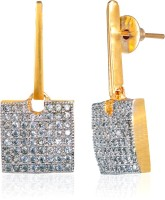 Alysa Aarifah 18K Yellow Gold, Rhodium Plated Cubic Zirconia Brass, Alloy, Silver Drop Earring