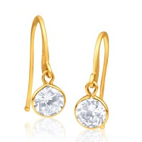Aiza Spring Sparkle 18K Yellow Gold Plated 18 K Diamond Gold Dangle Earring
