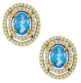Love Bright Jewelry December Birthstone Oval Created Blue Vermeil Cubic Zirconia, Topaz Sterling Silver Stud Earring