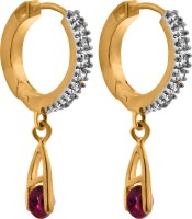 Alysa Charushila 18K Yellow Gold, Rhodium Plated Cubic Zirconia Brass, Copper, Silver Hoop Earring