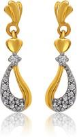 Mahi Floral Heart Cubic Zirconia Alloy, Brass Drop Earring