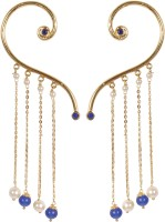Muchmore Beautiful Partywear Collection Blue Pearl Alloy Cuff Earring