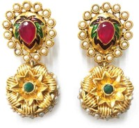 Aarnaa Sunflower Gold Plated Yellow Gold Alloy Drop Earring