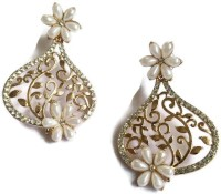 Fabula Gold & White Pearl Traditional Ethnic Jewellery Floral Filigree For Women, Girls & Ladies Metal Drop Earring