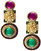 Beingwomen Elegant Gold Plated Kundan Studded Fashion Yellow Gold Plated Alloy Drop Earring