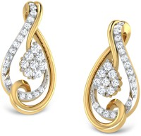 CaratLane 18K Yellow Gold Plated 18 K Diamond Gold Stud Earring