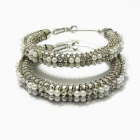 Bling-Bling Silver With Small Pearls Alloy Hoop Earring