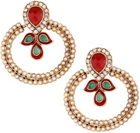 the jewelbox Pearl Chaand Copper Chandbali Earring