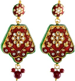 Colors of Sin Pentagonal red meenakari Glass Chandbali Earring, Chandelier Earring, Dangle Earring, Drop Earring
