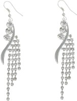 Golden Peacock Silver Plated Hanging Earring Cubic Zirconia Alloy Huggie Earring