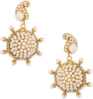 Voylla Yellow Gold Plated Pearl Alloy Drop Earring