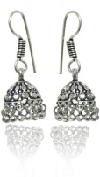 Jaipur Mart Small College Wear Black Polish White Tone Black Silver Brass Jhumki Earring