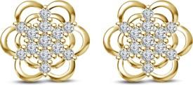 Kirati Graceful Flower Shape Cubic Zirconia Sterling Silver Stud Earring
