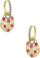 Orniza Victorian Earrings In Ruby Color With Antique Polish Brass Drop Earring