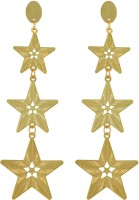 Sarah Stars Long Gold Metal Drop Earring