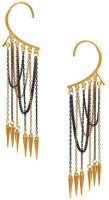Ayesha Fashion This Statement Ear Cuff Is Embellished With Long Dainty Hanging Chains And Gold-tone Spikess For An Urban Punk Look. Features A Gold-tone Ear Wrap Metal Cuff Earring