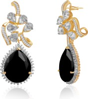 American Diamond Stunning 18K Yellow Gold, Rhodium Plated Cubic Zirconia, Diamond Copper, Brass Drop Earring