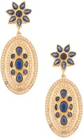 Voylla Artificial Floral Plain Yellow Gold Plated Cubic Zirconia Alloy Dangle Earring