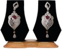 Heena Jewellery Oval Red Stone Cubic Zirconia Brass Drop Earring