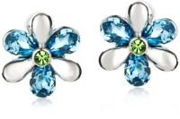 Swarovski Elements Blue Crystal & Rhinestone Flower Design Platinum Plated Stud Gift For Women Swarovski Crystal Metal Stud Earring