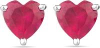 Voylla Precious Love Plain  K Ruby Sterling Silver Stud Earring