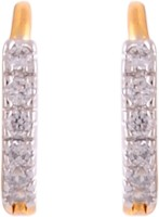 Affinity Jewellers Affinity 6 Stone Single Line Bali With CZ Stones 18K Yellow Gold Plated Cubic Zirconia Alloy Hoop Earring