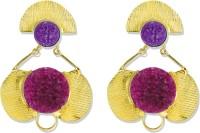 Zaveri Pearls Royal Gold Natural Druzy Stones Brass Dangle Earring