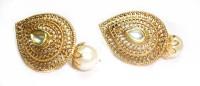 Sb Fashions Golden Plated Leaf Shape Brass Stud Earring