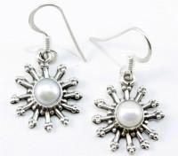 YugshaJewels Sparkling White Pearl Pearl Sterling Silver Dangle Earring