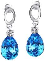 Swarovski Elements Blue Drop Valentine Gift For Women Rhodium Plated Swarovski Crystal Metal Drop Earring